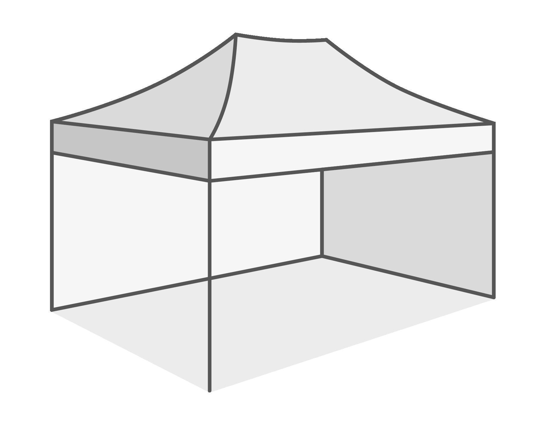 Met 2 verschillende wanden (1 x lange - 1 x korte zijde)