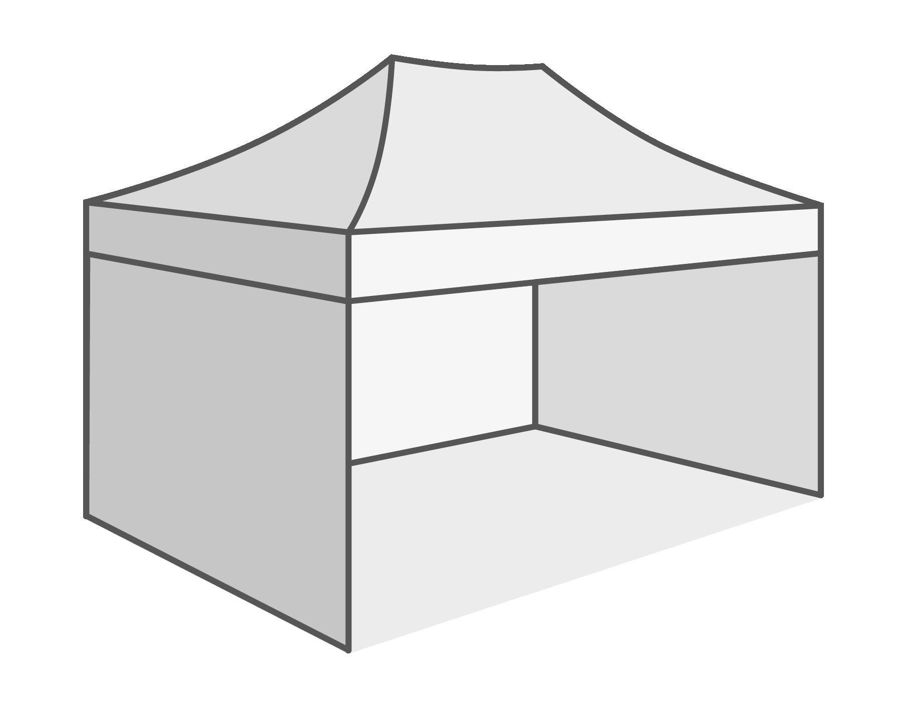Met 3 verschillende wanden (1 x lange - 2 x korte zijde)