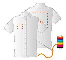 Linkermouw, borst rechts en achterzijde (8x4 - 10x10 - 25x25cm) Borduren