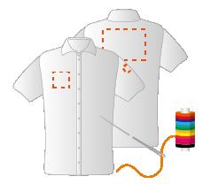 Linkermouw, borst rechts en schouders (8x4 - 10x10 - 20x15cm) Borduren