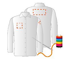 Linkermouw, borst rechts en schouders (8x4 - 10x10 - 12x16cm) Borduren