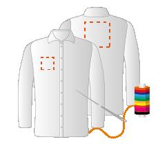 Rechtermouw, borst links en schouders (8x4 - 10x10 - 15x15cm) Borduren