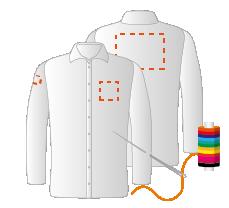 Rechtermouw, borst links en schouders (8x4 - 10x10 - 20x15cm) Borduren